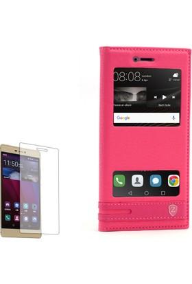 Gpack Huawei P9 Lite Kılıf Pencereli Elit Mıknatıslı + Cam