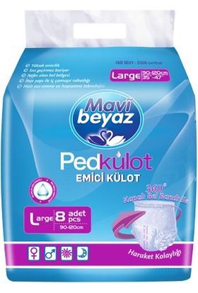 Mavi Beyaz Ped Külot Büyük Boy 1 Paket 8 Li Hasta Bezi