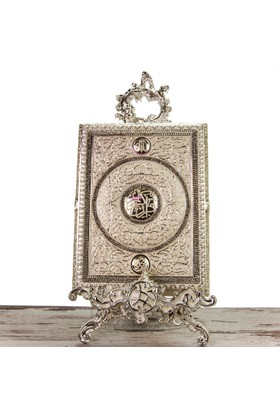 Gümüş Kaplama Standlı Kur'An-ı Kerim Kabı 22X49,5 cm LN718