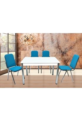Gül Mutfak Masa Sandalye Takımı 4 Adet Karizma Sandalyeli Mutfak Masası