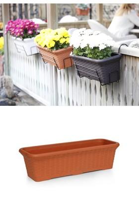 Mini Garden Hasır Balkon Saksı 12 LT Turuncu 2 Adet Askılı
