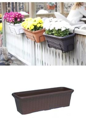 Mini Garden Hasır Balkon Saksı 6,5 LT Kahverengi 2 Adet Askılı