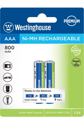Westinghouse 800Mah Aaa Şarjlı İnce Pil 2Li Blister Ambalaj Ready To Use