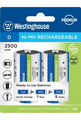 WestinghouseD 2500Mah Büyükboy Nimh 2Li Ambalaj Ready To Use