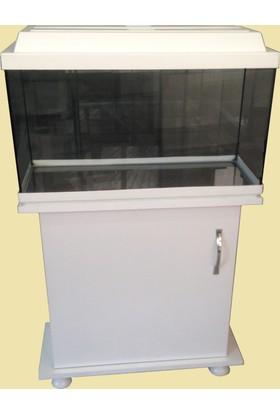 Kanki Pet Akvaryum 65 Cm Beyaz Düz Mobilyalı