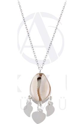 Akyüz Gümüş Deniz Kabuğu Telkari Gümüş Kolye
