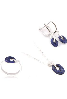 Akyüz Gümüş Mavi Zirkon Taşlı Gümüş Set