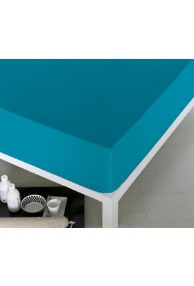 Home De Bleu Tek Kişilik Pamuk Çarşaf Turkuaz 140x200 cm