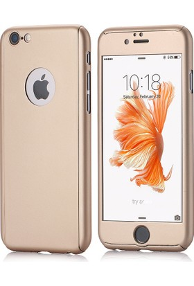 Mse Apple iPhone 6/6S 360 Kaplama Kaydırmaz Yüzey Gold Kılıf