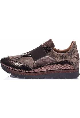 Camore Bronz Metalik Deri Çiçek Baskılı Bayan Sneaker