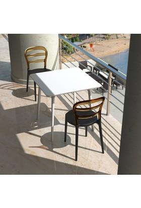 Siesta Contract Msbibi Kare Masa Takımı - Beyaz - Kahverengi Sandalye - Balkon Bahçe Mobilyası