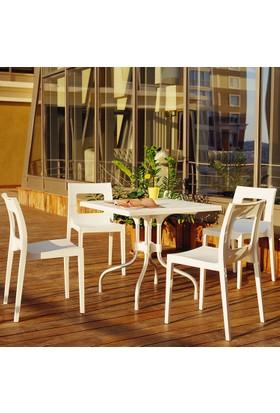 Siesta Contract Forlucca Masa Takımı - Gümüş - Balkon Bahçe Mobilyası