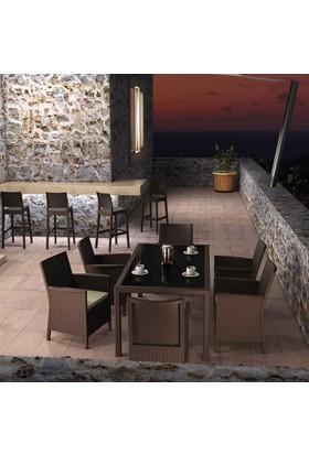 Siesta Rattan California Minderli Bahçe Takımı - Kahve - Balkon Bahçe Mobilyası