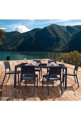 Siesta Contract Veroniti Masa Takımı - Koyu Gri - Balkon Bahçe Mobilyası