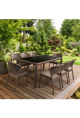Siesta Rattan Dahiti Dikdörtgen Masa Takımı - Beyaz - Balkon Bahçe Mobilyası