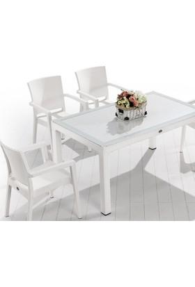 Novussi Livorno Masa Takımı - Beyaz - Balkon Bahçe Mobilyası