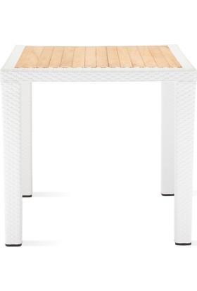 Tilia Antares Rattan İroko Tablalı Plastik Ayaklı Kare Masa 80 x 80 - Beyaz