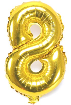 """Chavin 32"""" Dev Boy 8 Rakamı 75 Cm. Altın Rengi Folyo Balon Cin64-8"""