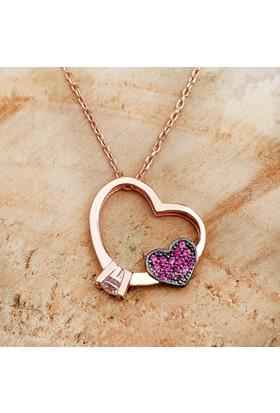 Chavin Rose Tek Taş Yüzük Tasarım Kalp Gümüş Bayan Kolye Dg75