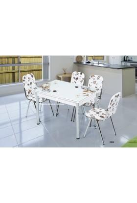 Gül Masa Sandalye Takımı Cam Masa Yandan Açılır Uzamalı Masa +6 Adet Karizma Sandalye Hesaplı