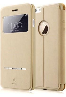 Baseus Terse Apple iPhone 6 Kapaklı Pencereli Suni Deri Kılıf