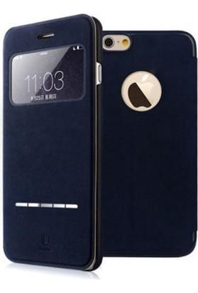 Baseus Terse Apple iPhone 6 Plus Kapaklı Pencereli Suni Deri Kılıf