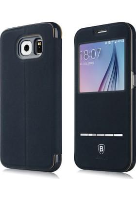 Baseus Terse Serisi Samsung Galaxy S6 Manyetik Kapaklı Pencereli Suni Deri Kılıf