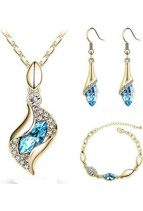 Angemiel Altın Dore Mavi Lale Figürlü Kristal Bayan Takı Seti
