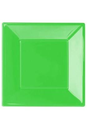 Kikajoy Plastik Kare Tabak Yeşil 23cm - 8 adet