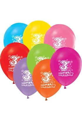 Kikajoy Happy Birthday 3 Yaş Baskılı Balon