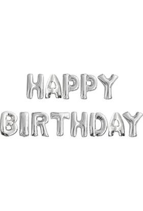 """Kikajoy Happy Birthday Yazılı Harf Folyo Balon 16"""" Gümüş Renk"""
