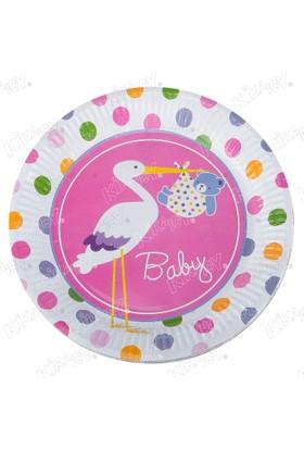 Kikajoy Baby Shower Leylek Pembe Karton Tabak