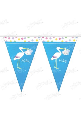 Kikajoy Baby Shower Leylek Mavi Üçgen Flama