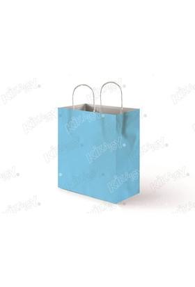 Kikajoy 25x31 Büküm Saplı Kağıt Poşet - Açık Mavi
