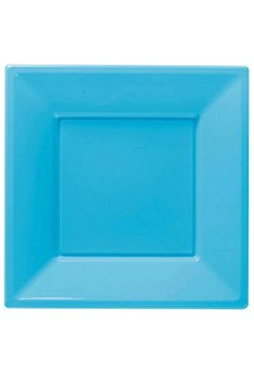 Kikajoy Roll Up Plastik Kare Tabak Açık Mavi 17cm