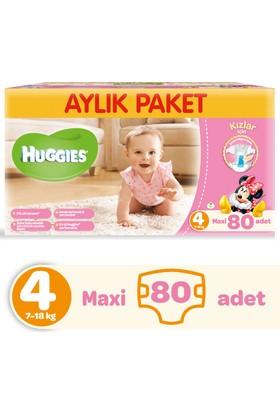 Huggies Kızım İçin Bebek Bezi Aylık Paket 4 Beden 80 Adet