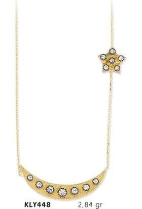 Romeo Pırlanta 14 Ayar Altın Ay Yıldız Kolye - Kly448