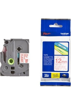 Brother P-Touch Tz-Tape 12Mm Şeffaf-Kırmızı Etiket 12Tze132