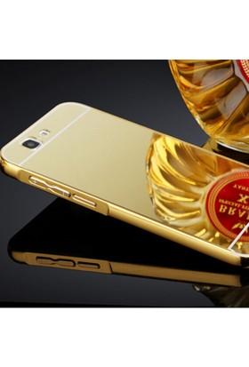Gpack Huawei Ascend G7 Kılıf Aynalı Metal Bumper + Cam