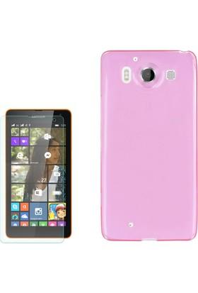 Gpack Microsoft Lumia 950 Kılıf 02Mm İnce Silikon + Cam