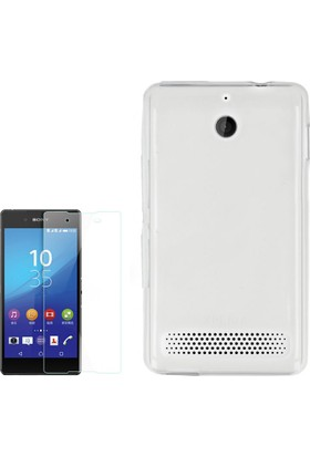 Gpack Sony Xperia E1 Kılıf 02Mm İnce Silikon + Cam