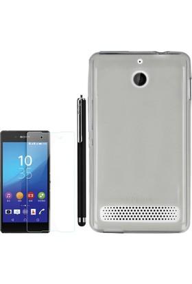 Gpack Sony Xperia E1 Kılıf 02Mm İnce Silikon +Kalem+ Cam