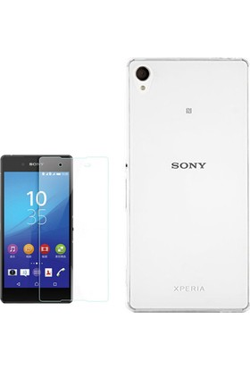 Gpack Sony Xperia E5 Kılıf 02Mm İnce Silikon + Cam