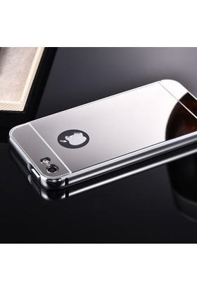 Gpack Apple iPhone 5,5S Kılıf Aynalı Metal Bumper + Cam