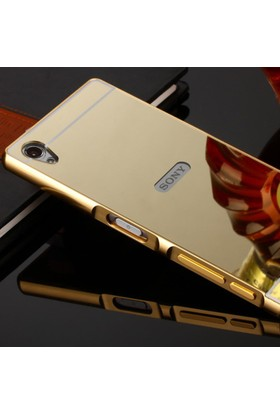 Gpack Sony Xperia Z5 Premium Kılıf Aynalı Metal Bumper + Cam