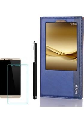 Gpack Huawei Ascend Mate 8 Kılıf Tek Pencere Kapaklı Deri Milano +Kalem+Cam