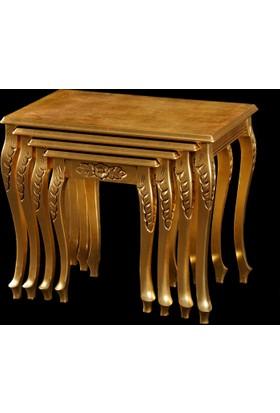 Osmanlı Mobilya Selçuklu Oymalı Altın Varaklı Zigon Sehpa