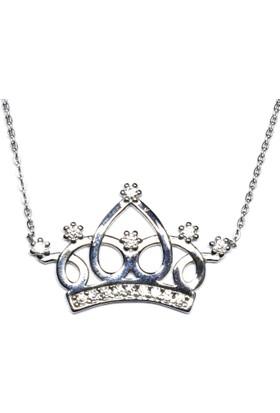 A Favor Zirkon Taşlı Gümüş Bayan Kolye-Prenses Tacı