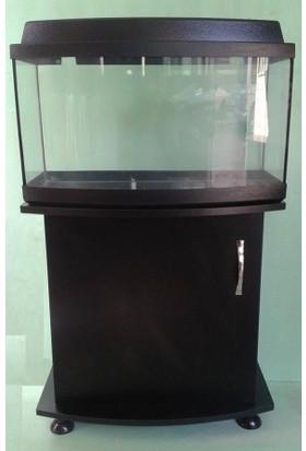 Kanki Pet Mobilyalı Akvaryum 65 Cm Bombeli siyah tam kapaklı