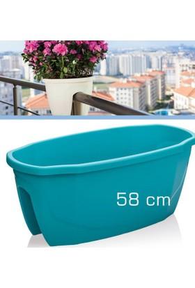 Homecare Korkuluk Küpeşte Saksı Turkuaz Renk 58 Cm 091968